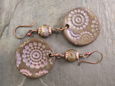 Lavender & Brown Czech Glass Coin Beads With Copper