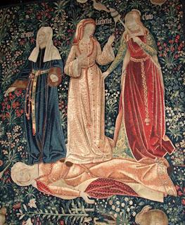 Greek myth Three Fates Norns Moirai tapestry art