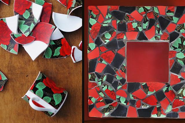 Lusterko różane - mozaika artystyczna