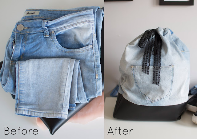 Diy denim backpack from old jeans