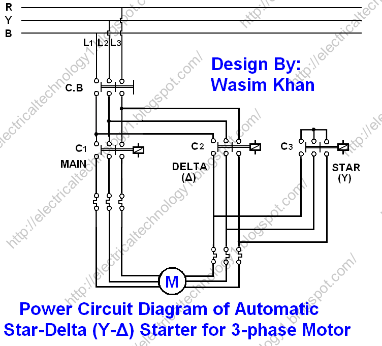 Electrical technology  The Star   Delta     Y    3phase Motor Starting Method by Automatic star