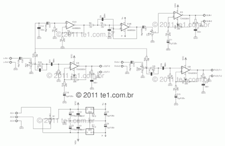 power audio amplifier with tda2030 2 1 chanell \u2013 3 x 18 wattsthe low frequency audio through the potentiometer p1 that makes the volume level, then forwarded to ic3 is what makes the subwoofer amplifier,