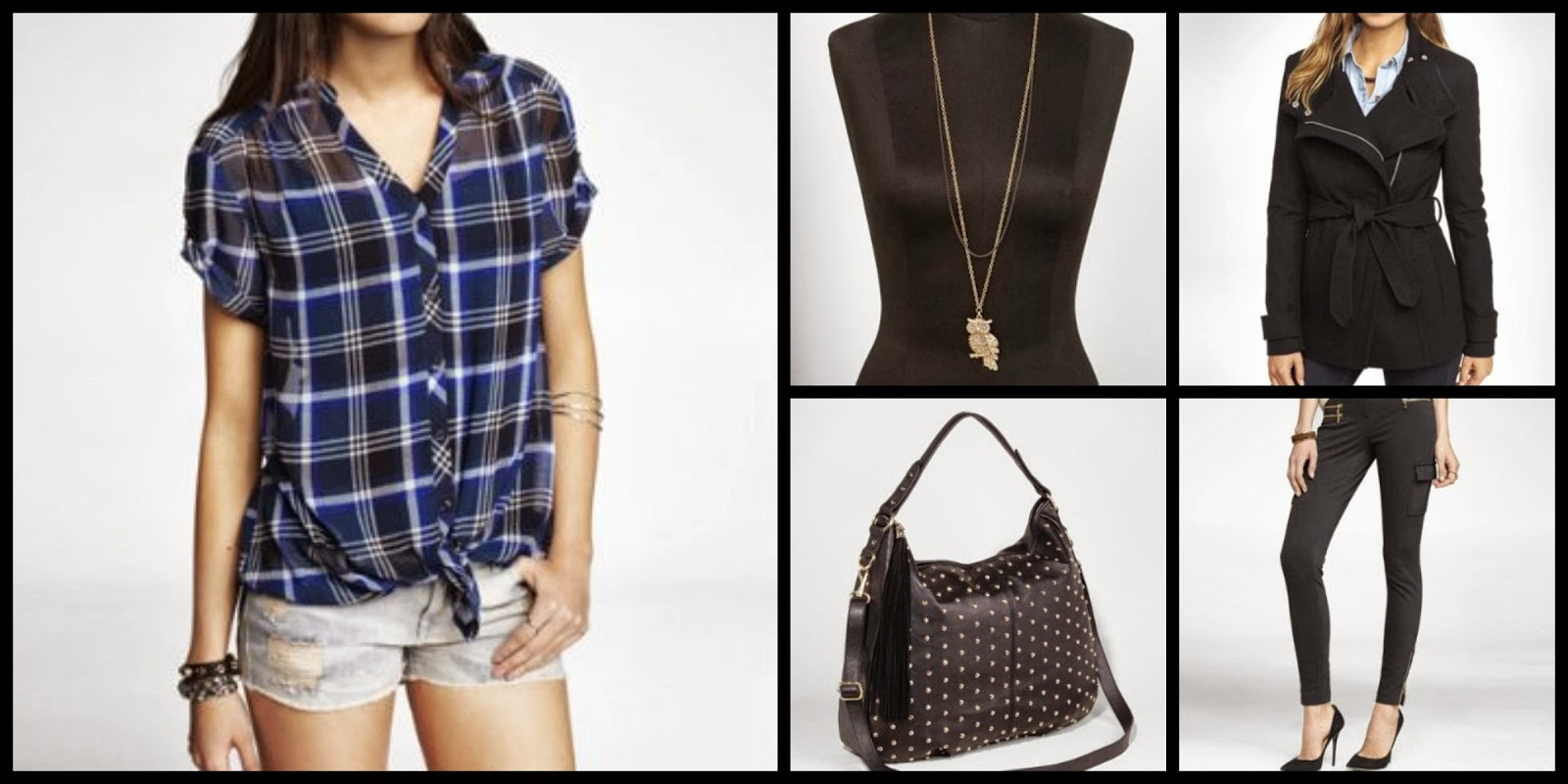 Express chiffon tie plaid top, owl pendant, studded bag, asymmetrical coat, black skinny cargo legging