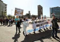 Imagen de la protesta hoy en Vigo // R. Grobas