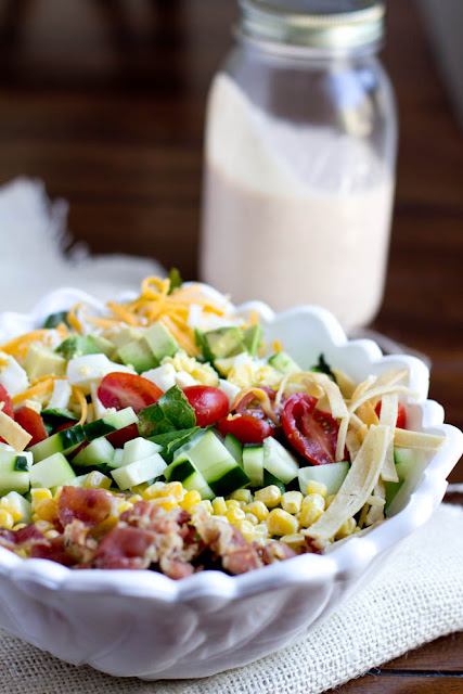 Loaded Salad with BBQ Ranch Dressing