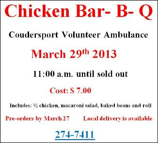 3-29 Chicken BBQ--Coudersport