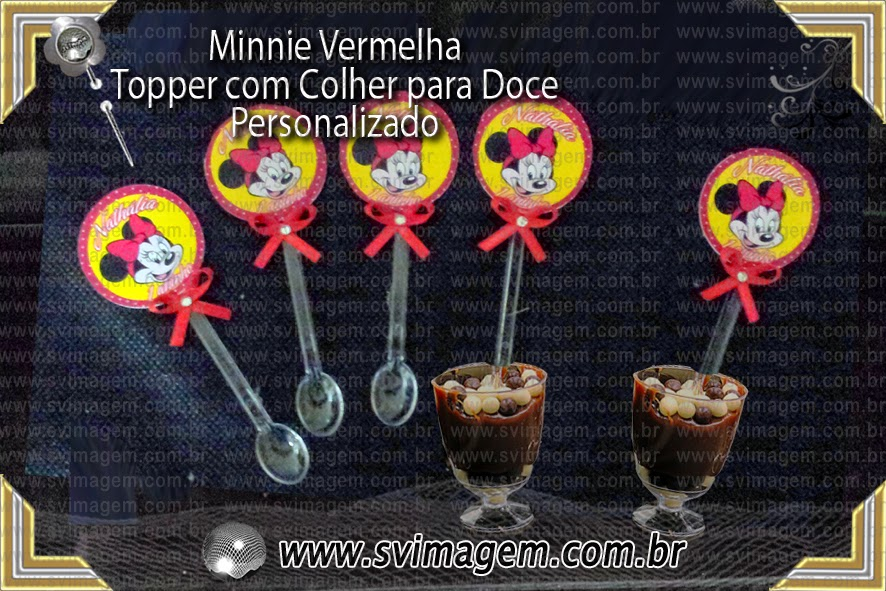 Minnie vermelha tag com haste bandeirinha para cups for Picas redondas