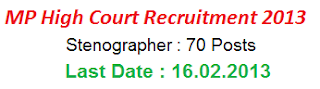 MP High Court Steno Recruitment Vacancy 2013