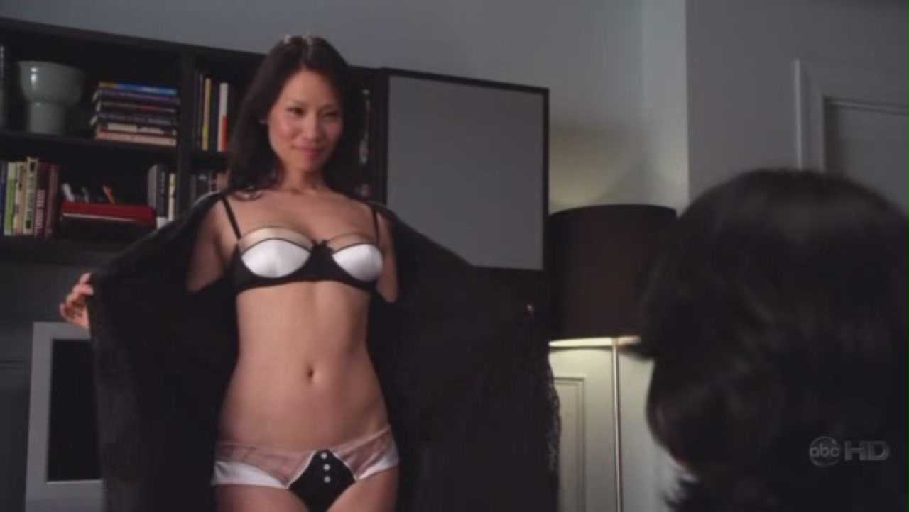 Lucy Liu S Sey Pose With White Bikini