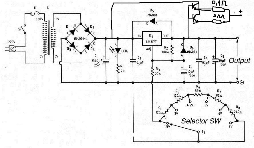 scheme electronice  sursa de tensiune stabilizata cu lm317
