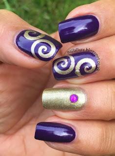 Gold & Purple Swirls Manicure