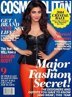 Magazine Cover : Shruti Haasan Magazine Photoshoot Pics on Cosmopolitan Magazine India January 2014 Issue