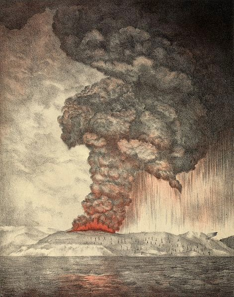 Lithograph of 1883 Krakatoa Eruption