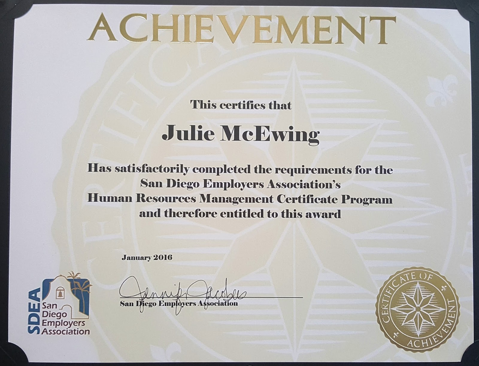 Pcc Congratulates Julie Mcewing On Completion Of Hr Cert Program