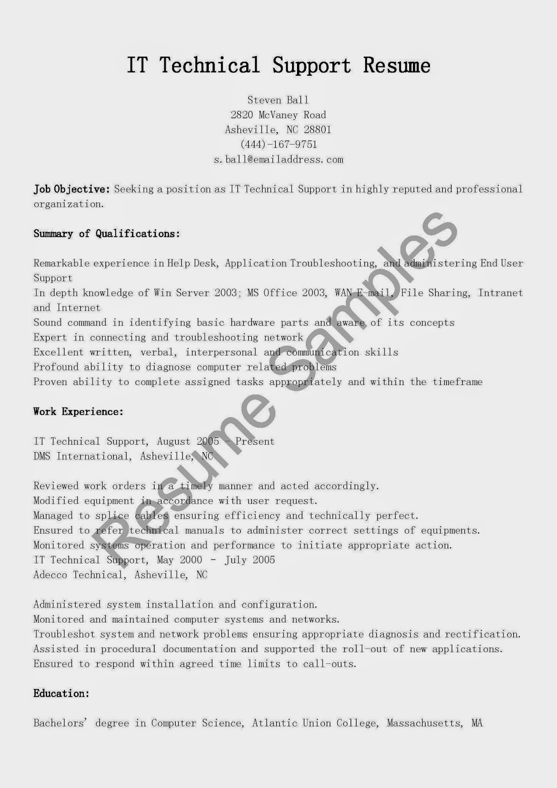 resume samples  it technical support resume sample