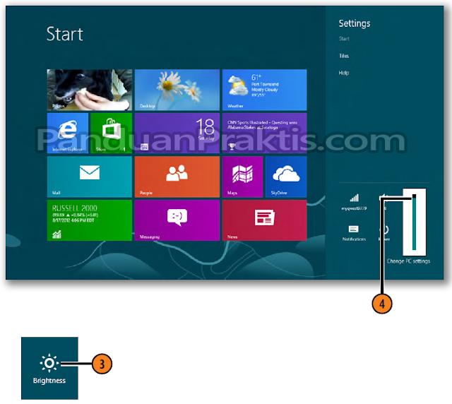 Gambar: cara mengatur brightness windows 8.