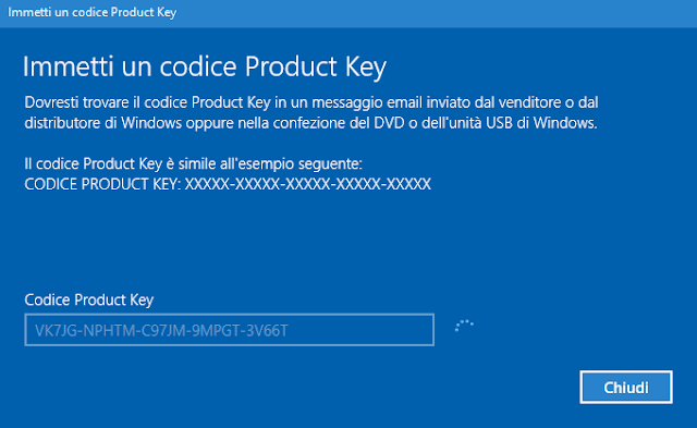 Windows 10 Immetti un codice Product Key