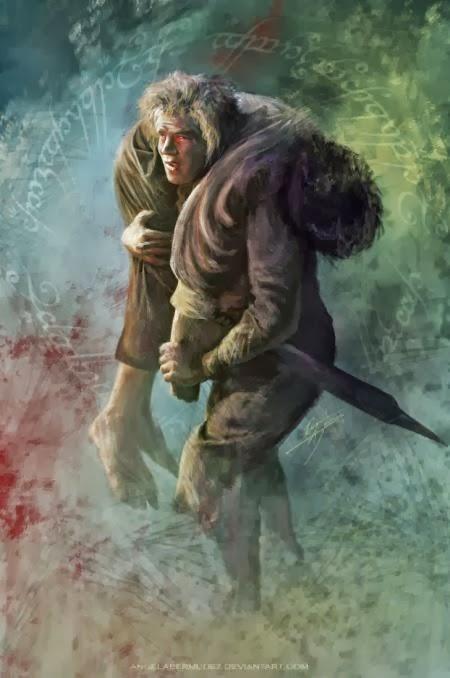 Angela Bermudez deviantart pinturas filmes cultura pop cinema Lealdade - Sam e Frodo em O Senhor dos Anéis - O Retorno do Rei