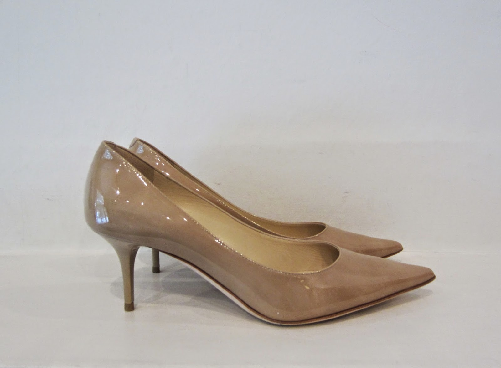 Jimmy Choo 'Aurora' Nude Patent Leather Kitten Heel Pumps
