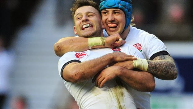 Danny Care, England, rugby, try, Celebrate, Twickenham, Wales, Six Nations