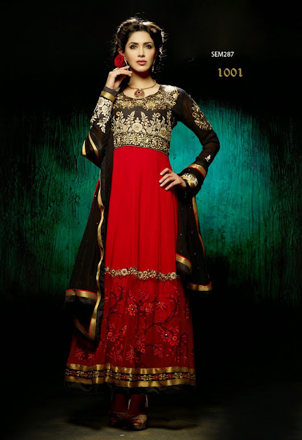 Buy Online Georgette Long Anarkali Suit,New Designer Net With Georgette Anarkali Suit