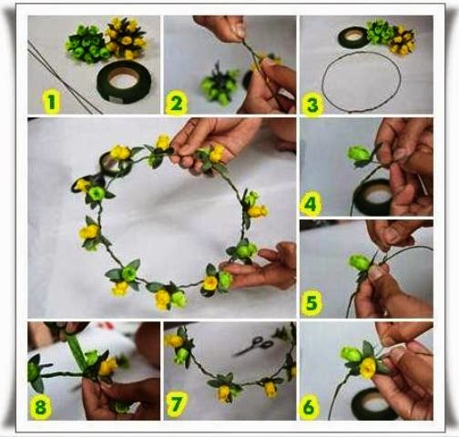 Cara membuat bando flower crown