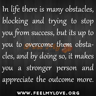 In life there is many obstacles, blocking and trying