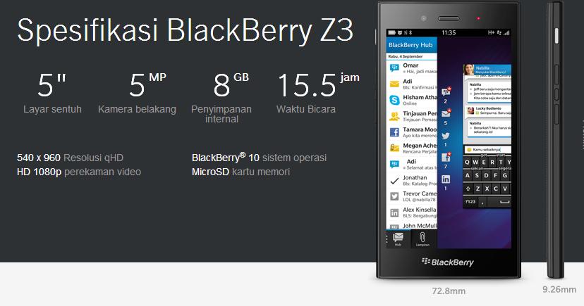 Fitur dan Spesifikasi Blackberry Z3 Jakarta Edition