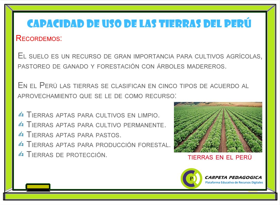 Capacidad de uso de las tierras del Perú
