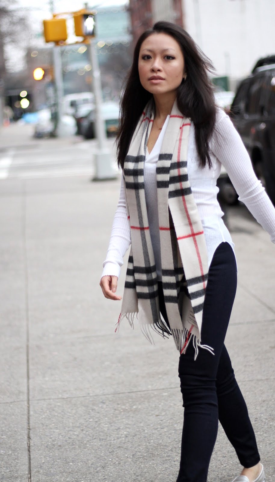 Helmut Lang henley Burberry scarf Rag and Bone Georgie pants