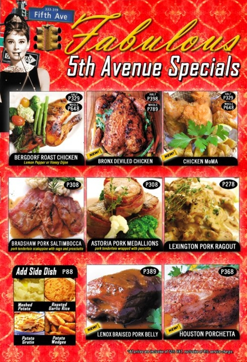 Marciano's Greenbelt 3 Menu