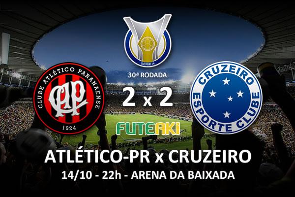 Veja o resumo da partida com os gols e os melhores momentos de Atlético-PR 2x2 Cruzeiro pela 30ª rodada do Brasileirão 2015.