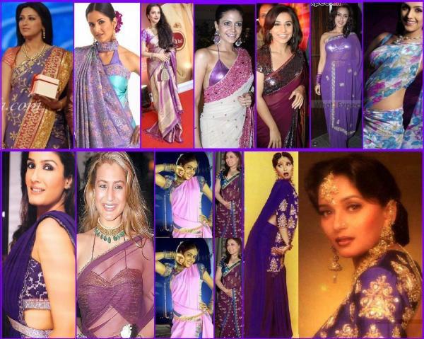 actress in purple sarees