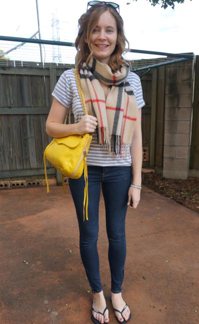 Print mixing burrbery tartan cashmere scarf stripe tee jeanswest prima denim skinny jeans