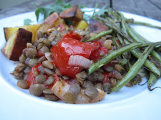 Tomato-Lentil Bake, with Crispy Green Beans, on Oven Roasted Potatoes (Vegan)