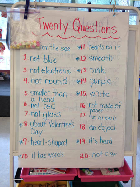 Chart stand showing the 20 Questions game that I played with my Grade 1 class. We used conversation hearts.