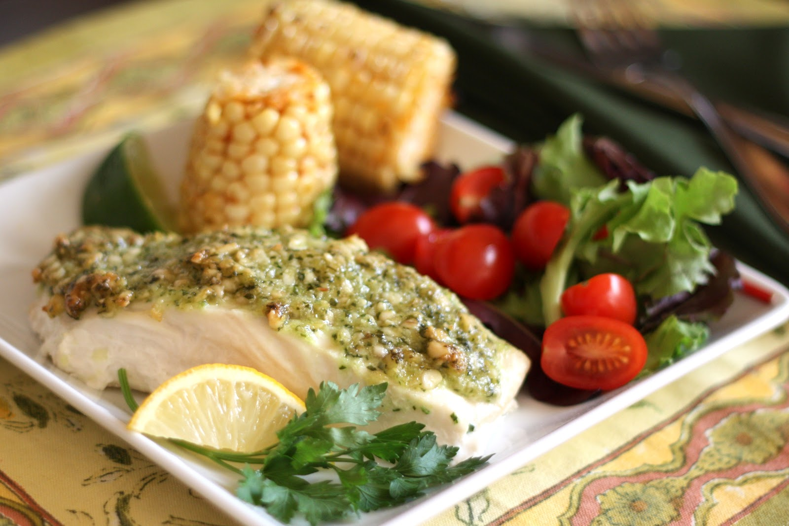 ... In The Kitchen: Baked Halibut with Pine Nut, Parmesan and Pesto Crust