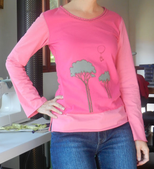 Pink refashioned t-shirt