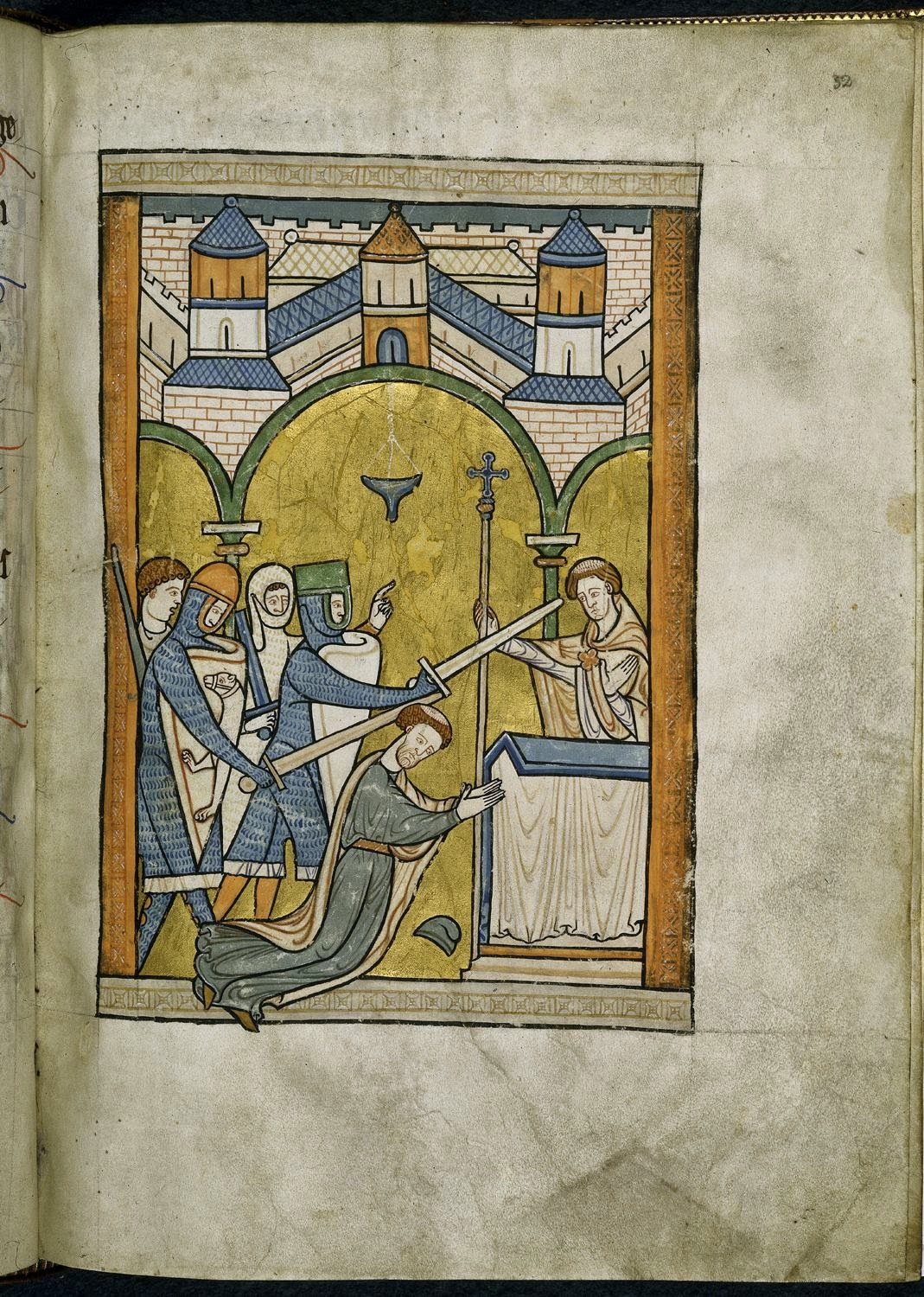 living the history a case of mistaken identity perhaps and and here s thomas becket being murdered from a manuscript dating to circa 1200 british library mail chausses again on the far left knight