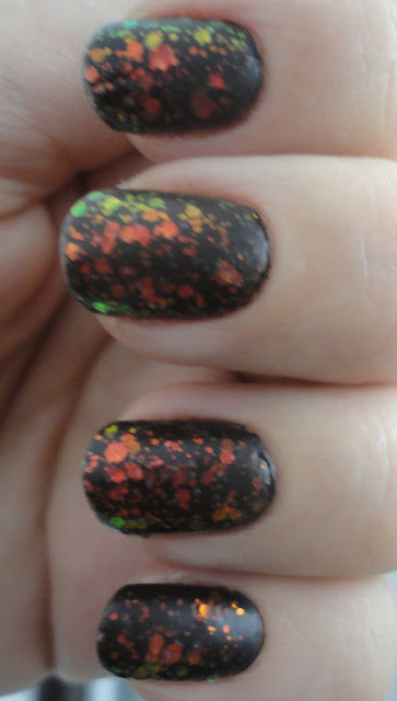 chunky black holographic by kleancolor with madly matte top coat