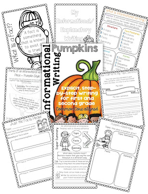 Pumpkin Themed Informational Writing for First and Second Graders
