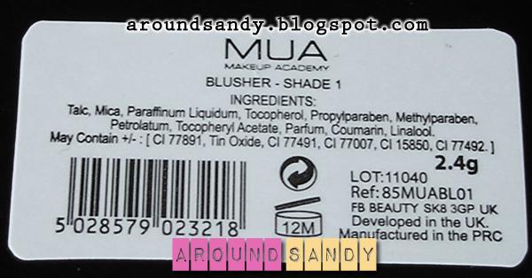 MUA blush shade 1 colorete ingredientes