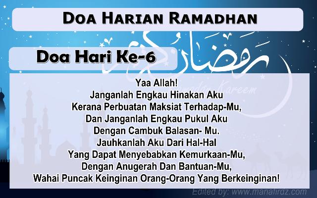Doa Harian Bulan Ramadhan | Doa Hari Ke-6