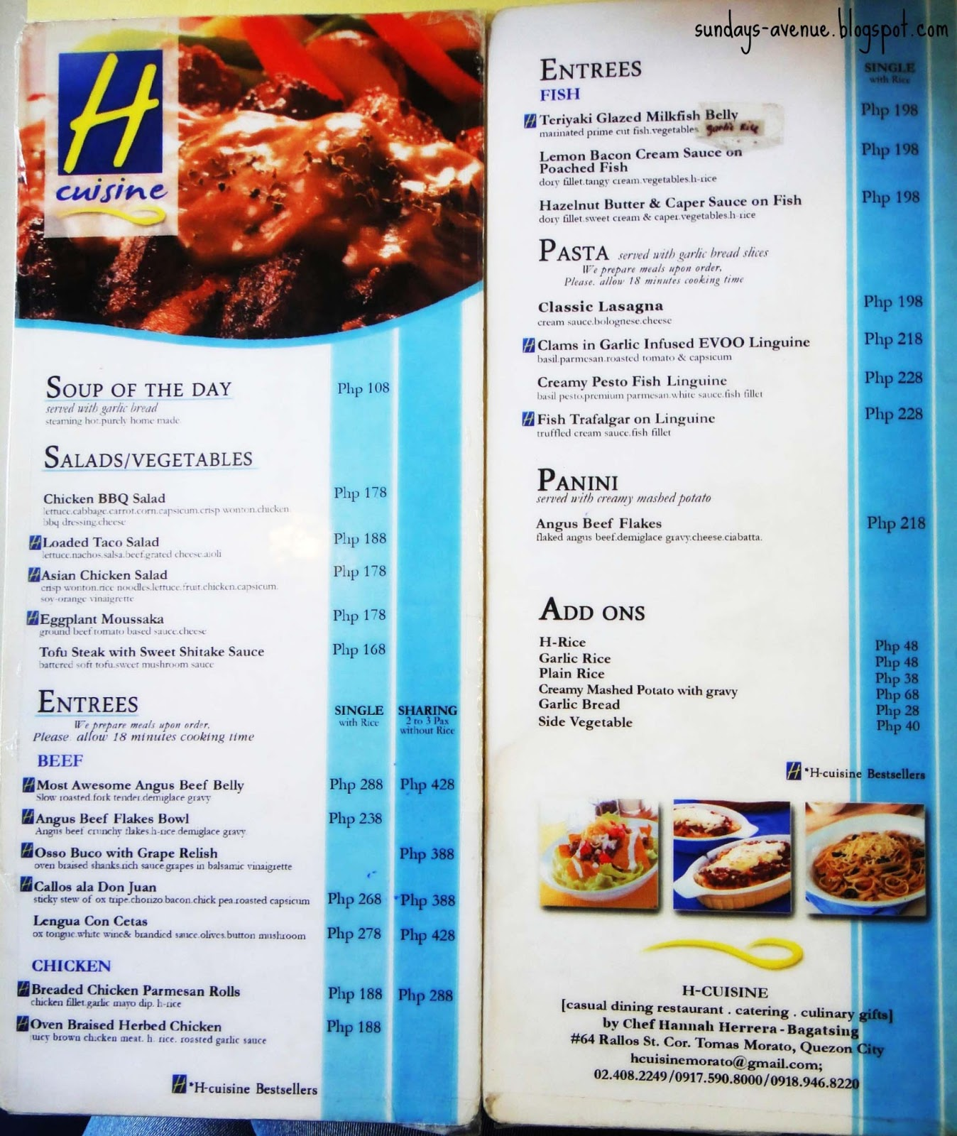 Sunday 39 s avenue h cuisine home of the most awesome angus beef belly for H cuisine tomas morato