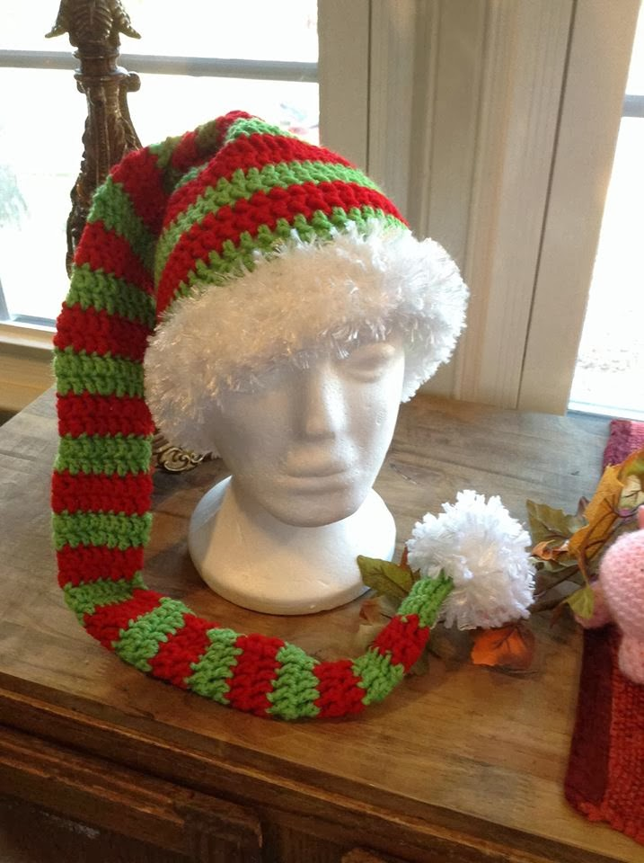 Free Crochet Pattern Long Elf Hat : Frogging Along : Striped Elf Hat Pattern