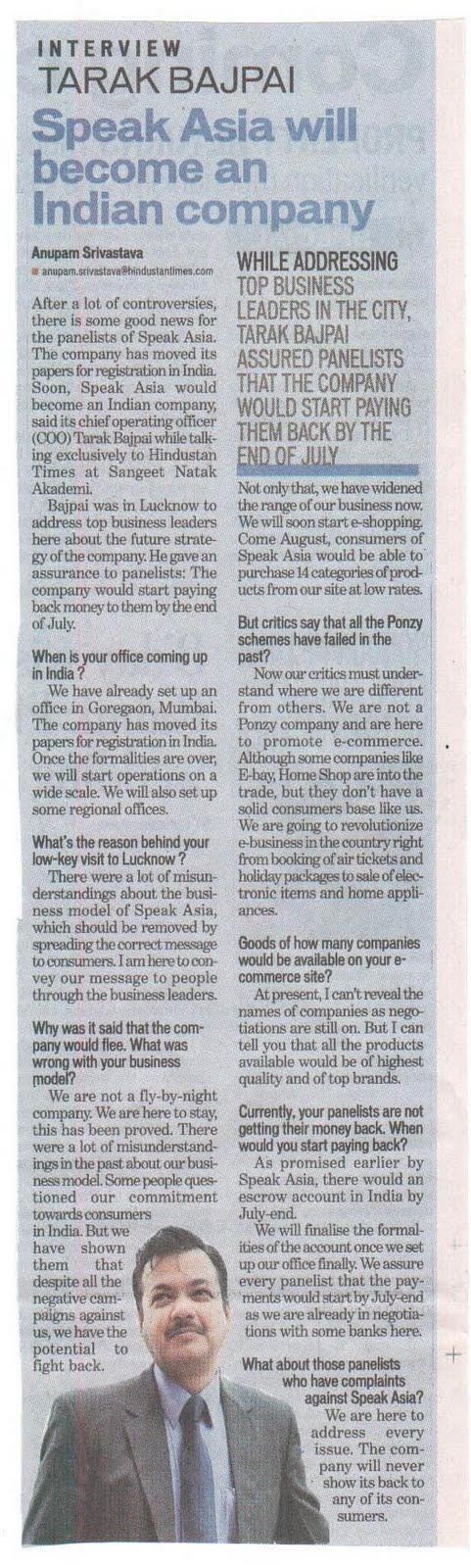 Speak Asia COO Tarak Bajpai interview in  Hindustan Times