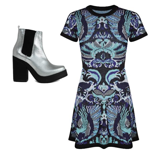 Miista May Boot Silver and Sheike Wonderland Blue Knit Dress
