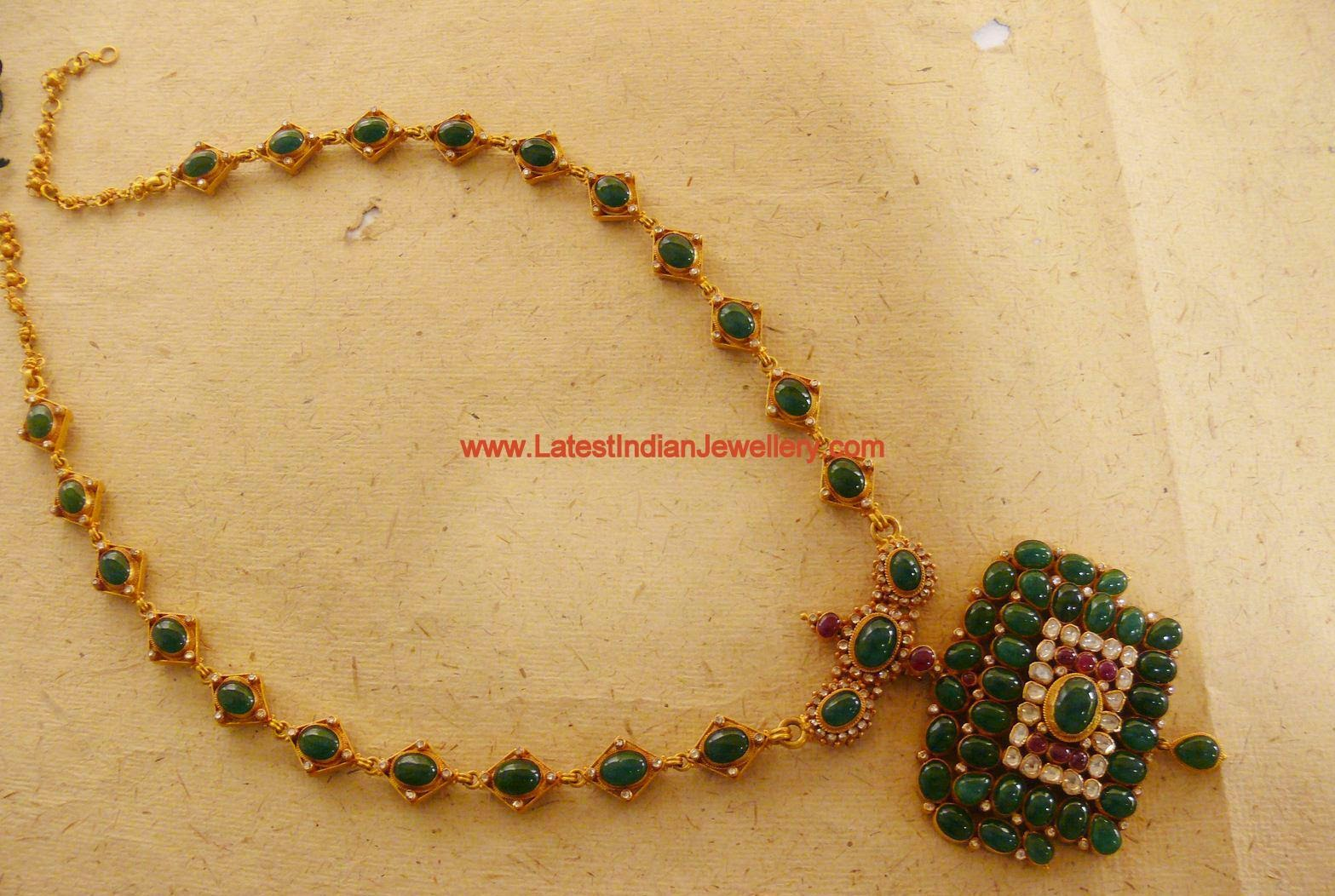 Indian Emerald Gold Necklace