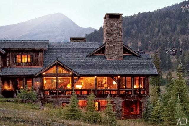 Estilo rustico casa de monta a de madera y piedra - Casas de piedra y madera ...