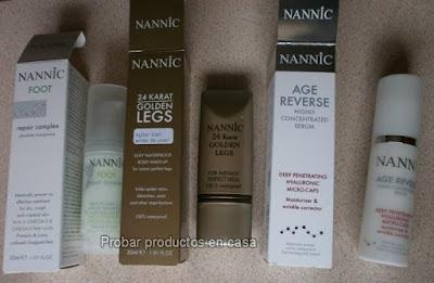 Nannic: suero hialurónico, reparador de pies y Golden Legs